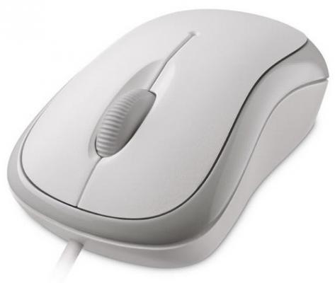 цена на Мышь проводная Microsoft Basic P58-00060 белый USB