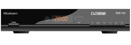 Тюнер цифровой DVB-S2/T2 Rolsen RDB-902 HDMI USB SPDIF черный