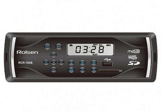 Автомагнитола Rolsen RCR-102B бездисковая USB MP3 FM SD MMC 1DIN 4x45Вт черный синяя подсветка