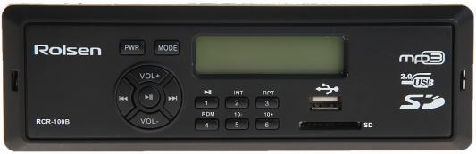 Автомагнитола Rolsen RCR-100G бездисковая USB MP3 FM SD MMC 1DIN 4x45Вт черный