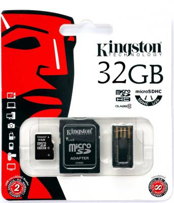 Карта памяти Micro SDHC 32Gb Class 10 Kingston Multi Kit MBLY10G2/32GB + адаптер SD + USB-картридер