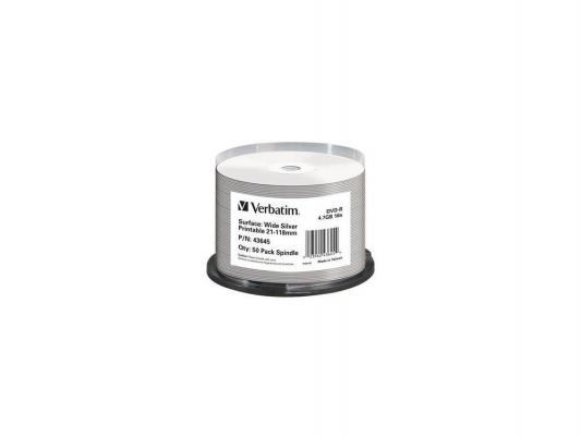 Диск DVD-R Verbatim 16x 4.7Gb Wide Silver Printable 50шт 43645 цены
