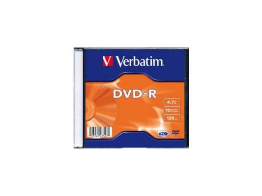 цена на Диски DVD-R Verbatim 16x 4.7Gb SlimCase 100шт (5x20шт) 43547