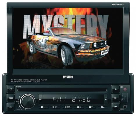 "Автомагнитола Mystery MMTD-9108S 7"" 800х480 USB MP3 CD DVD FM SD MMC 1DIN 4x50Вт пульт ДУ черный"