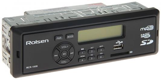 Автомагнитола Rolsen RCR-100B бездисковая USB MP3 FM SD MMC 1DIN 4x45Вт черный