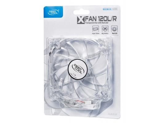 Вентилятор Deepcool XFAN120L/R 120x120x25 3pin 26dB 1300rpm 119g красный LED