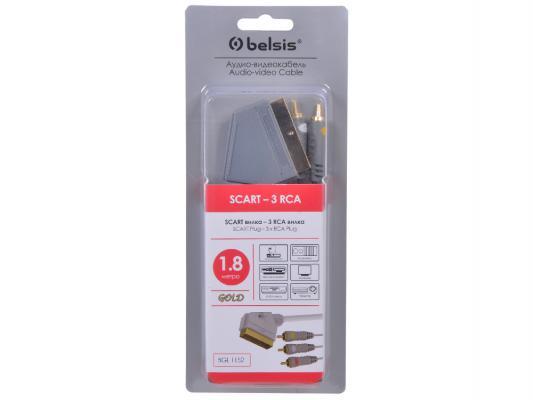 Кабель Belsis   SCART вилка - 3xRCA вилка, GOLD, композитное видео+стерео-аудио, с переключателем, 1.8 м.