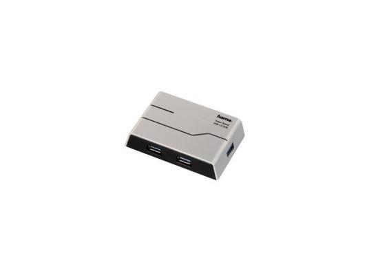 Концентратор USB 3.0 HAMA H-39879 — серебристый черный концентратор usb 3 0 hama h 54544 4 х usb 3 0 черный серебристый