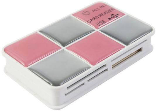 Картридер внешний PC Pet CR-217CPK USB2.0 CF/SD/microSD/MMC/RS-MMC/MS/MSduo/XD/microMS розовый-серый сумка для ноутбука pc pet pcp a9015bk