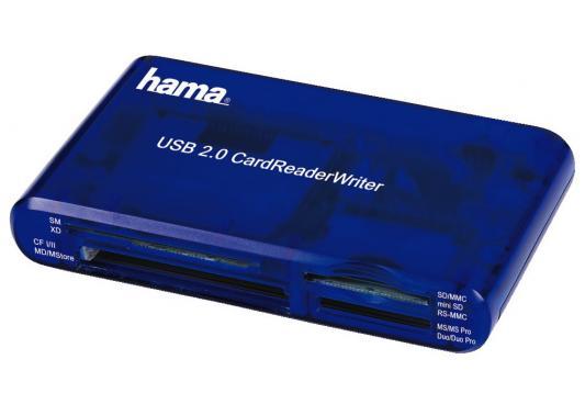 Картридер внешний Hama H-55348 35в1 USB 2.0 поддерживает SDXC синий картридер внешний hama h 91092 usb2 0 прозрачный 00091092