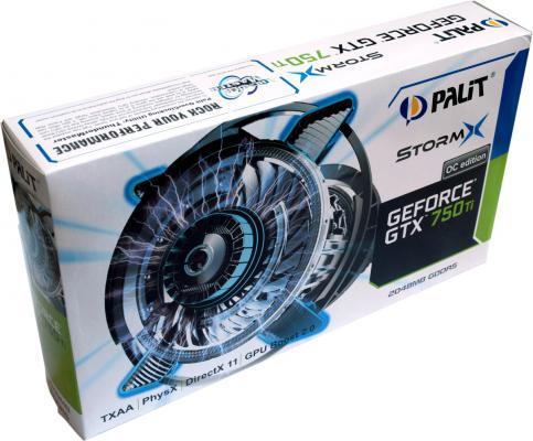 Видеокарта 2Gb <PCI-E> Palit GTX750Ti STORMX OC с CUDA <GFGTX750Ti, GDDR5, 128 bit, HDCP, VGA, DVI, mini HDMI, Retail>