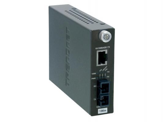 Медиаконвертер TRENDnet TFC-110S15i 100Base-FX разъём SC, поддерживающим работу на расстоянии до 15 км, и Ethernet-портом 100Base-TX
