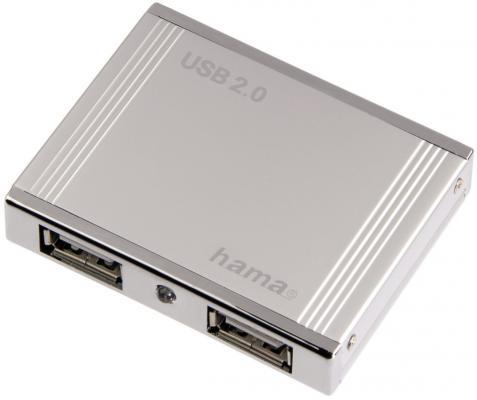 Концентратор USB Hama H-78498 4 порта USB2.0 пассивный серебристый