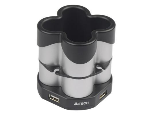 Концентратор USB 2.0 A4TECH HUB-77 4 x USB 2.0 серебристый черный