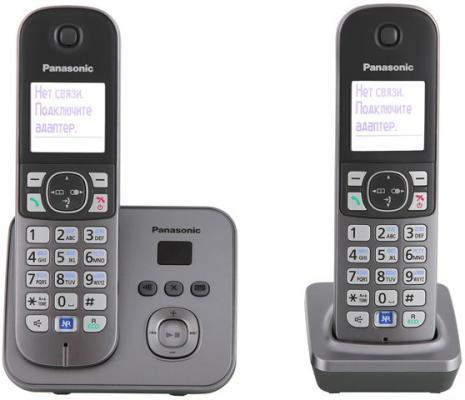 Радиотелефон DECT Panasonic KX-TG6822RUM серый металлик радиотелефон dect panasonic kx tg6722rub черный
