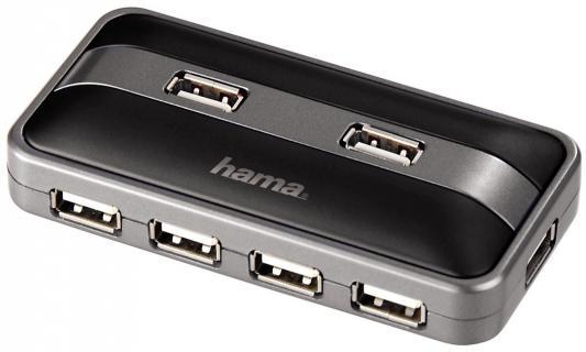 Концентратор USB 2.0 HAMA H-78483 7 x USB 2.0 черный серебристый концентратор usb 3 0 hama h 54544 4 х usb 3 0 черный серебристый
