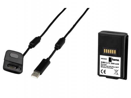 Зарядное устройство Hama 39923 для контроллера USB Xbox360 кабель 3м черный + аккумуляторная батарея 1900mA