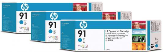 Картридж HP C9483A №91 для HP DJ Z6100 голубой 3шт картридж hp c9483a