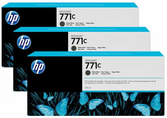 Картридж HP B6Y32A №711С для HP Designjet Z6200 775мл матовый черный 3шт free shipping q5669 60664 for hp designjet t610 t1100 z2100 z3100 z3200 vacuum fan aerosol fan assembly original used