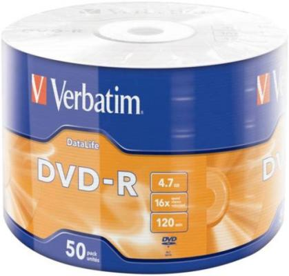 Диски DVD-R Verbatim 16x 4.7Gb Data Life 50шт 43791 диски cd dvd thunis dvd r dvd r 16x 25