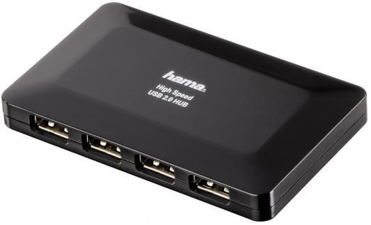 Концентратор USB 2.0 HAMA H-78472 4 x USB 2.0 черный концентратор usb 3 0 hama h 54544 4 х usb 3 0 черный серебристый