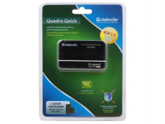 Разветвитель USB HUB Defender QUADRO Quick USB 3.0, 4 порта, с блоком питания