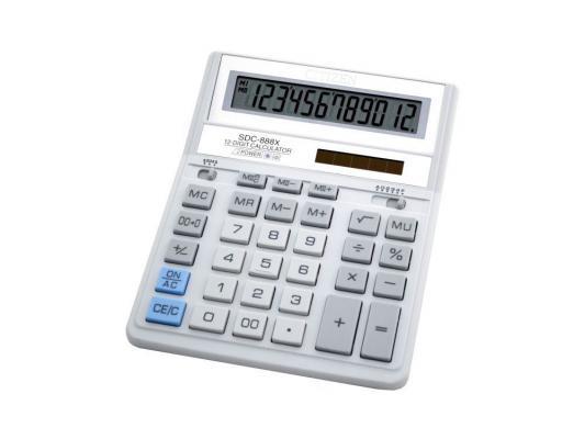 Калькулятор Citizen SDC-888XWH двойное питание 12 разрядов бухгалтерский белый/серый