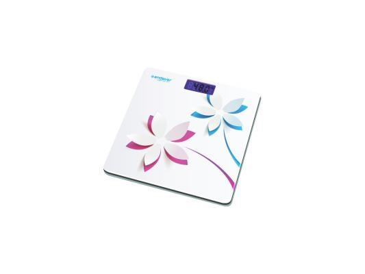 """Электронные напольные весы Endever Skyline FS-506, стекло, LED-подсветка, белый с рисунком """"Цветы"""", max -150кг цена и фото"""