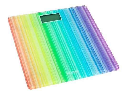 "Электронные напольные весы Endever Skyline FS-509, стекло, LED-подсветка, белый с рисунком ""Радуга"", max -150кг"
