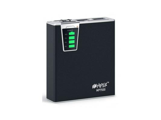 Портативный аккумулятор Hiper Mobile Power 7500 mAh black Емкость 7500 мА-ч, 1xUSB 5В 1А, 1xUSB 5В 2.1А, карт ридер SD, LED фонарик. внешний аккумулятор qumo poweraid camper 4000 ма ч выход 5в 2 1а вход 5в 2а солнечная панель 900 ма