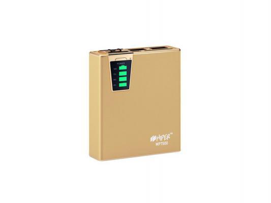 Портативный аккумулятор Hiper Power Bank 7500 mAh Gold Edition Емкость 7500 мА-ч, 1xUSB 5В 1А, 1xUSB 5В 2.1А, карт ридер SD, LED фонарик.
