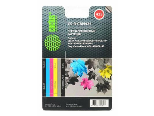 Комплект перезаправляемых картриджей Cactus CS-R-CAN425 для Canon PIXMA iP4840 MG5140/524 комплект картриджей cactus cs r ept0827