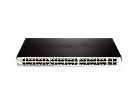 Коммутатор D-LINK DGS-1210-52/B1A управляемый 48 портов 10/100/1000Base-T + 4xGigabit MiniGBIC SFP