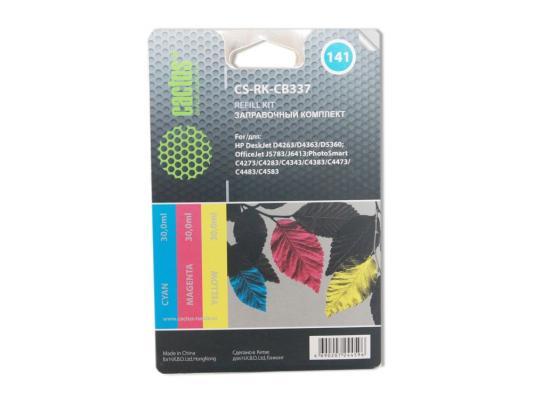 Заправка Cactus CS-RK-CB337 для HP DeskJet D4263/D4363/D5360 OfficeJet J5783/J6413 3x30мл цветной