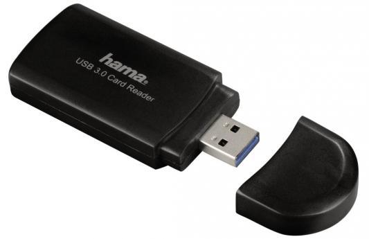 Картридер внешний Hama H-39871 USB 3.0 USB 2.0 поддерживает SD/SDHC/SDXC/microSD/microSDHC/microSDXC черный