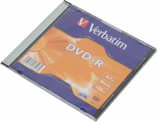 Диск DVD-R Verbatim 16x 4.7Gb SlimCase 1шт 43547