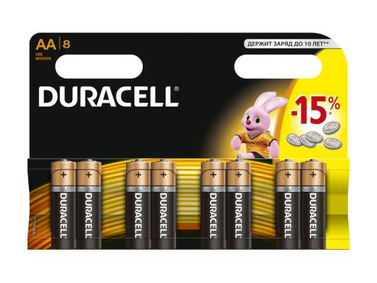 Батарейки Duracell MN1500 LR6 AA 8 шт батарейки duracell basic lr6 4bl aa 4 шт