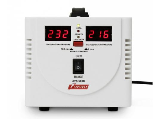 Стабилизатор напряжения Powerman AVS 500D белый 2 розетки