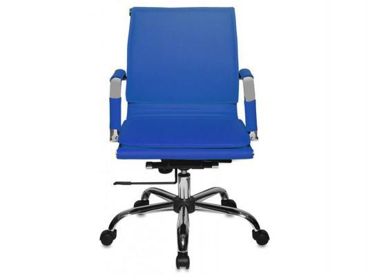 Кресло Buro CH-993-Low/blue низкая спинка искусственная кожа синий цены