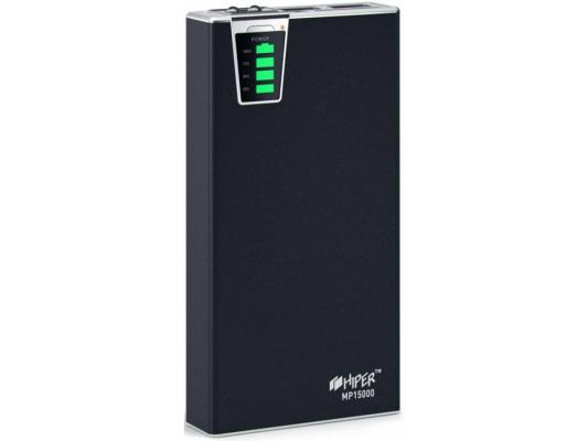 лучшая цена Портативное зарядное устройство HIPER Power Bank MP15000 15000мАч 2x USB 1/2.1А картридер SD фонарик черный