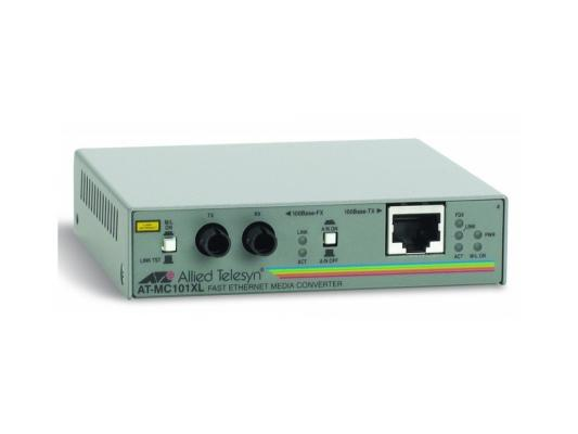 Медиаконвертер Allied Telesis AT-MC101XL-20/60 100TX RJ-45 to 100FX ST Fast Ethernet медиаконвертер allied telesis at mc103xl 60 100tx rj 45
