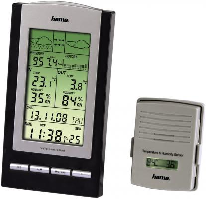 цена на Метеостанция Hama H-76045 EWS-800 черно-серебристый