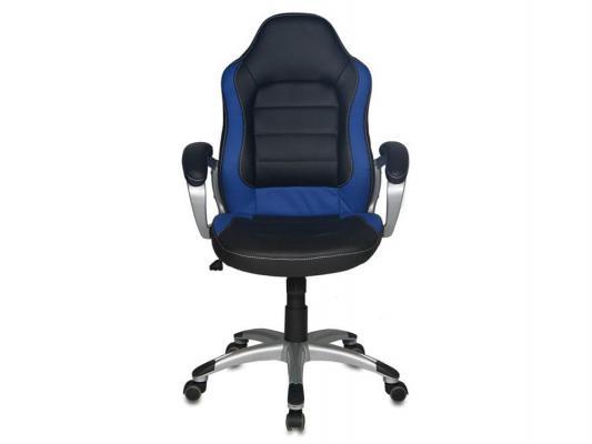 Кресло Buro CH-825S/Black+Bl черный синий искусственная кожа пластик серебро кресло buro ch 825s black rd черный красный искусственная кожа пластик серебро