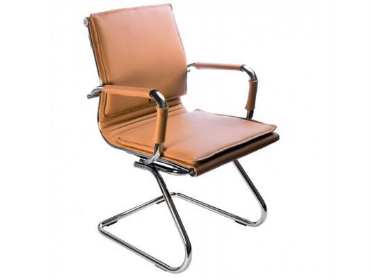 цены Кресло Buro CH-993-Low-V/Camel низкая спинка светло-коричневый искусственная кожа полозья хром