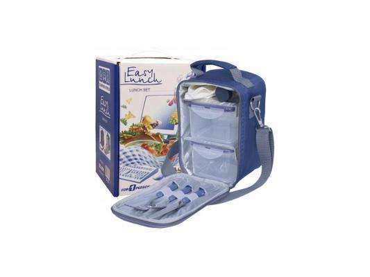 Набор для пикника CW Easy Lunch индивидуальный в подарочной упаковке (на 1 персону, цвет синий, сумка-термоc с набором посуды, вес 725г)