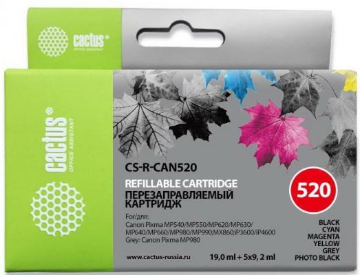 Комплект перезаправляемых картриджей Cactus CS-R-CAN520 для Canon PIXMA MP540 MP550 MP620 набор картриджей cactus cs r can520