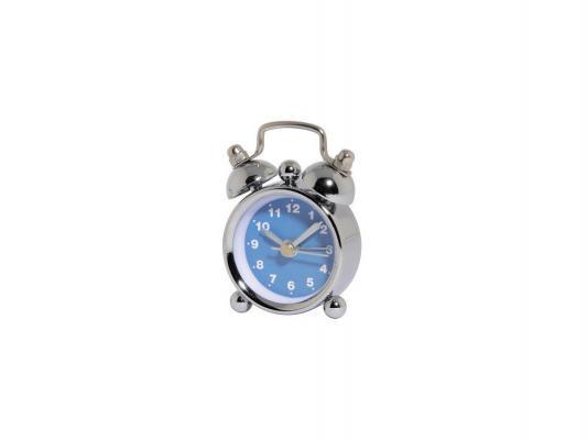 Будильник Hama H-113925 кварцевый Nostalgia mini аналоговый серебристый/синий