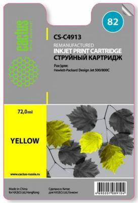 Картридж Cactus CS-C4913 №82 для HP Design Jet 500/800C желтый cactus cs c4913 82 yellow картридж струйный для hp dj 500 800c