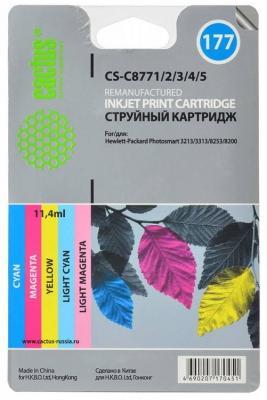 Комплект картриджей Cactus CS-C8771/2/3/4/5 №177 для HP PhotoSmart 3213/3313/8253/C5183/C6183/C6283 цветной hp c8719he 177xl black для photosmart 8253 3213 3313