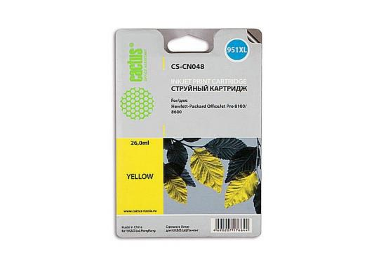 цена Картридж Cactus CS-CN048 №950/951XL для HP PhotoSmart HP OfficeJet Pro 8100/8600 желтый 26мл онлайн в 2017 году